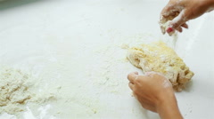 Girl chef kneads the dough for the pie Stock Footage