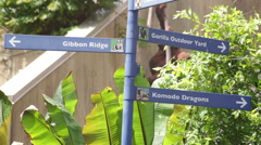 Directional directory for animals at a zoo Stock Footage