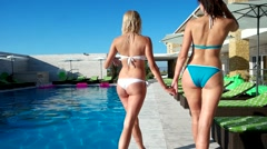 Walk around the pool girls with beautiful ass Stock Footage