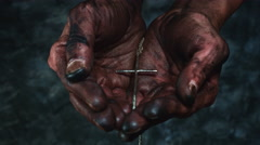 4k Religious Composition of Dirty Mechanic Hands Holding Cross Stock Footage