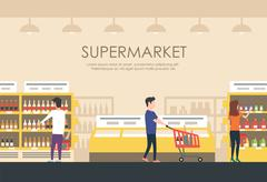 People in supermarket. Vector flat illustration. Grocery store Piirros