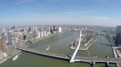 Aerial of Rotterdam city short footage flying near Erasmus Bridge Erasmusbrug 4k Stock Footage