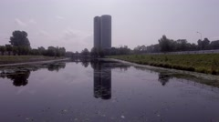 Skyscrapers View from water Stock Footage