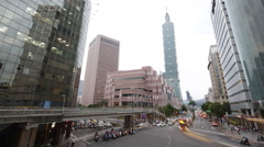 4k Timelapse Taipei 101 Tower with traffic, Taiwan Beautiful Cityscape-Dan Stock Footage