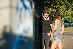 Young HipHop Couple in a urban environment Stock Photos