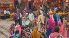 Ceremony on ghats,Varanasi,India Stock Footage