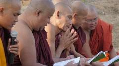 Monks praying,Sarnath,India Stock Footage
