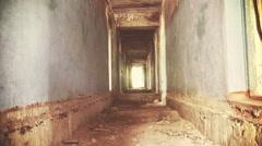 Abandoned long corridor Stock Footage
