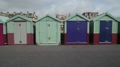 Beach huts in Brighton and Hove Stock Footage