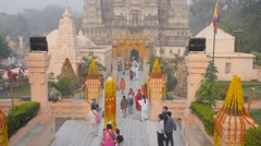 Richly decorated entrance to temple,BodhGaya,Mahabodhi Temple Complex,India Stock Footage