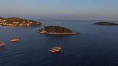 Aerial view of small island archipelago in Adriatic Sea, Croatia Stock Footage