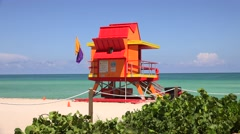 Miami Beach in South Beach with new lifeguard tower Stock Footage