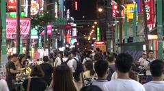 4K Crowd Walking Asian People Side Walk Street Ximen Night Market in Taipei-Dan Stock Footage