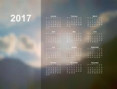 Calendar monthly 2017 Stock Illustration