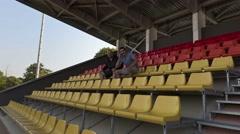 Happy sport fans on stadium.4K Stock Footage