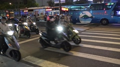 4k, Traffic Cars and Motorbikes Driving On The Road in Taipei City of night-Dan Stock Footage