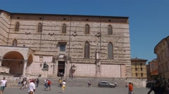 Perugia Cathedral and fountain, Umbria, Italy Stock Footage