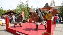 Demonstration battle masters of ancient martial arts Russia Stock Footage
