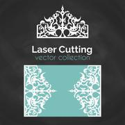 Laser Cut Card. Template For Laser Cutting. Cutout Illustration With Crown Stock Illustration
