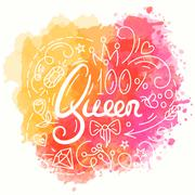 Queen Typography Design. Lettering print for t-shirt Stock Illustration