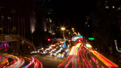 Timelapse Aerial View Cityscape Traffic Driving in Taipei City in night-Dan Stock Footage