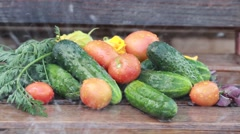 Ripe vegetables on wooden background summer afternoon Stock Footage