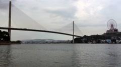 The Bai Chay Bridge in Ha Long city at Ha Long bay Stock Footage