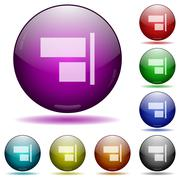Align to right glass sphere buttons Stock Illustration