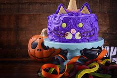 Halloween Party Purple Cat Cake Stock Photos