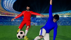 Soccer player kicking the ball and score a goal - animation video game Stock Footage