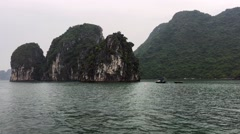 Halong Bay view from boat tour Stock Footage