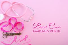 Pink Ribbon Charity Background. Stock Photos