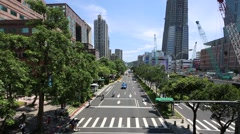Asian Business People And Tourists Walk Across The Street in Taipei city-Dan Stock Footage