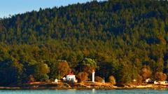 4K Lighthouse and House on Ocean Island, Sea and Island Landscape, Dusk Sunset Stock Footage