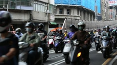 Motorbikes Stopped In Traffic Jam Congestion of The Taipei City, Rush-Hour-Dan Stock Footage