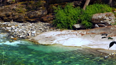 4K Blue River Mountain River, Nature Water Landscape in Spring Stock Footage