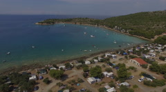 Camping site on the coast of Adriatic Sea. Aerial view 4K Stock Footage
