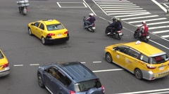 4K A Motorbikes with bottle of gas driving on the road in Taipei City-Dan Stock Footage