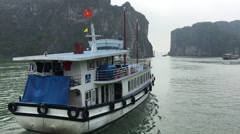 View of sea travel at boat at Ha Long bay Stock Footage