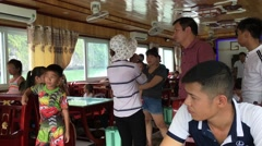 Tourists group of boat excursion at ha Long bay Stock Footage