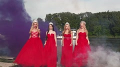 4 Queens of beauty in red dresses with the crowns Stock Footage