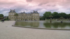 Luxembourg Palace Sunset Pan Stock Footage