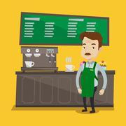 Barista standing near coffee machine Stock Illustration