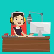 Female dj working on the radio vector illustration Stock Illustration