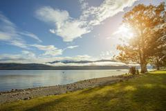 Beautiful sceninc of lake te anau important traveling destination in south is Stock Photos