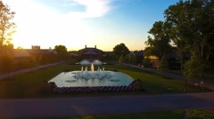 4k cinematic epic aerial of university campus at sunset Stock Footage