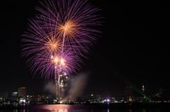 Pink fireworks at Pattaya beach, Thailand Stock Photos