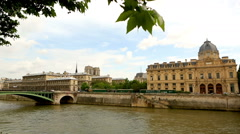 Bridge Pont Royal and Louvre in Paris, view from Seine river Stock Footage