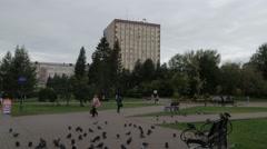 Russia Ivanovo city hall park 4K Stock Footage
