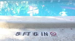 No Diving Swimming Pool Stock Footage